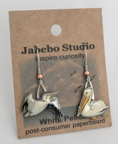 Recycled White Pelican Earrings