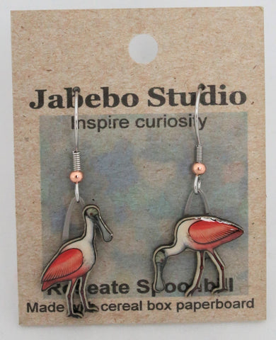 Recycled Roseate Spoonbill Earrings