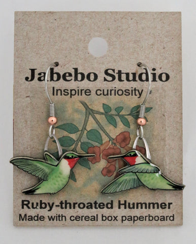 Recycled Ruby-Throated Humming Bird Earrings