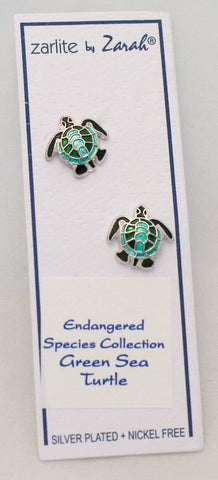 Artistic Sea Turtle Post Earrings by Linda Bolhuis
