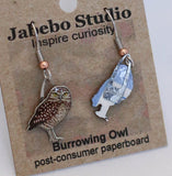 Recycled Burrowing Owl Earrings