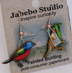 Recycled Painted Bunting Earrings