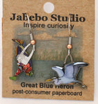 Recycled Great Blue Heron Earrings