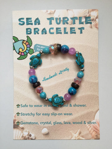 Handmade Sea Turtle  Bracelet - Aqua Purple