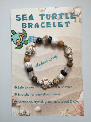 Handmade Sea Turtle  Bracelet - Sandy Neutral