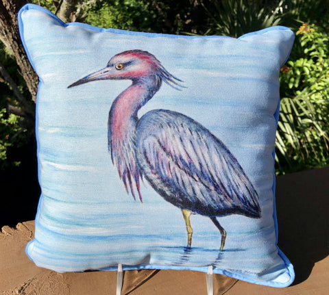Small Indoor/Outdoor Pillow - Little Blue Heron - Made in the USA
