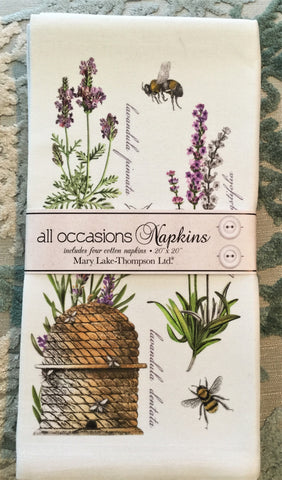 All-Occasion Cotton Napkins - Botanical Lavender - Set of 4