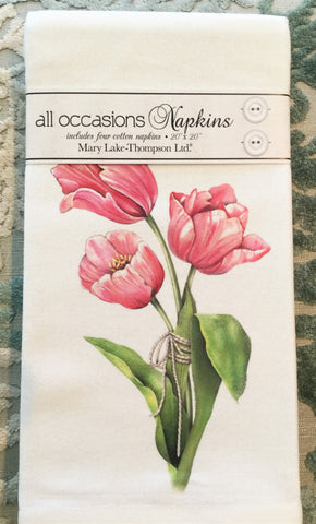 All-Occasion Cotton Napkins - Pink Tulips - Set of 4
