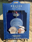 3-D Ornament With 24k Gold Finish - Made in the USA - Seashells on the Shore