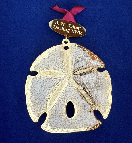 3-D Ornament With 24k Gold Finish - Made in the USA - Sand Dollar