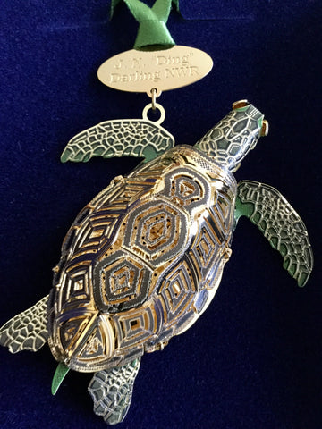 3-D Ornament With 24k Gold Finish - Made in the USA - Sea Turtle