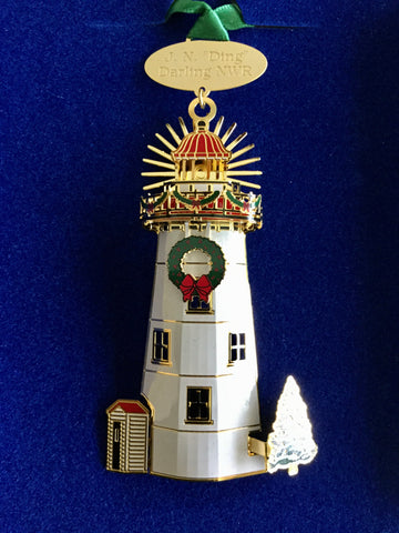 3-D Ornament With 24k Gold Finish - Made in the USA - Holiday Lighthouse