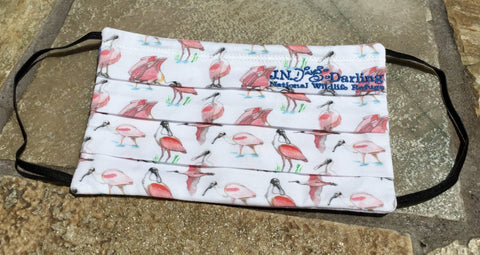 Special Edition Iconic Roseate Spoonbill Face Mask - Over Sized - Blue Embroidery