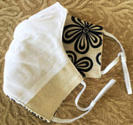 Triple Layer Fabric Face Mask with Adjustable Ear Straps - Peaceful Petals - FREE Fabric Bag Included
