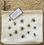 Canvas Zipper Pouch - Scattered Bees - Vintage Design