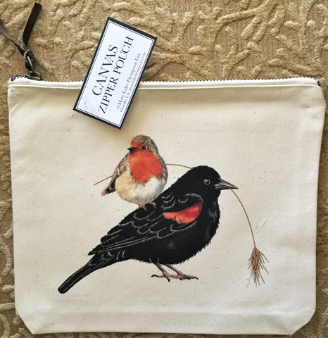 Canvas Zipper Pouch - Autumn Birds - Vintage Design