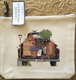 Canvas Zipper Pouch - Save the Bees Truck - Vintage Design