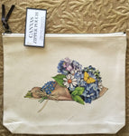 Canvas Zipper Pouch - Hydrangea Bouquet - Vintage Design