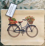 Canvas Zipper Pouch - Market Bike - Vintage Design