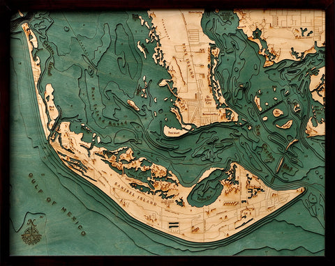 Sanibel Island 3D Wooden Chart Wall Art - Dark Brown Frame