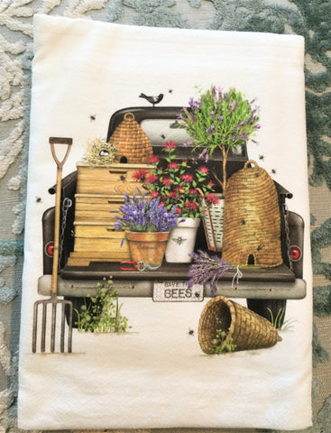 Flour Sack Kitchen Towel - Save the Bees Truck - Vintage Design