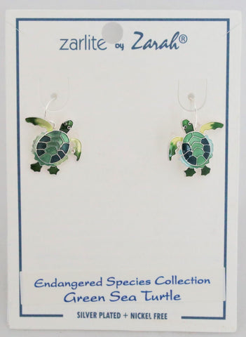 Artistic Green Turtle Earrings by Linda Bolhuis