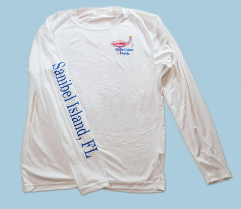 White Spoonbill Long Sleeve Crew Neck Sport Shirt