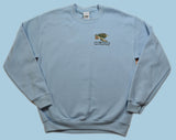 Sea Turtle Embroidered Pullover Sweatshirt - Light Blue