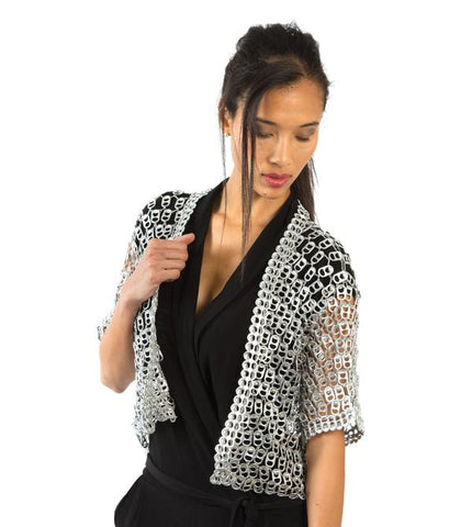 Eco-Friendly Recycled Pop-Top Silver Shrug Jacket - Bolero