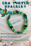 Handmade Sea Turtle  Bracelet - Aqua Green