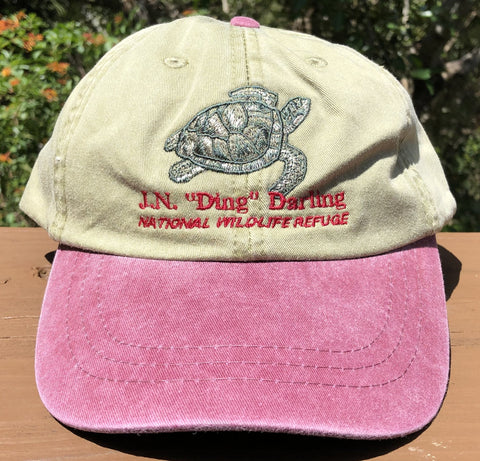 Khaki & Red Turtle Adjustable Baseball Hat