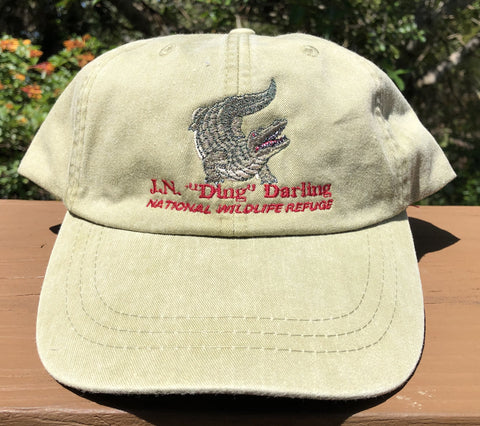 Khaki Gator Adjustable Baseball Hat