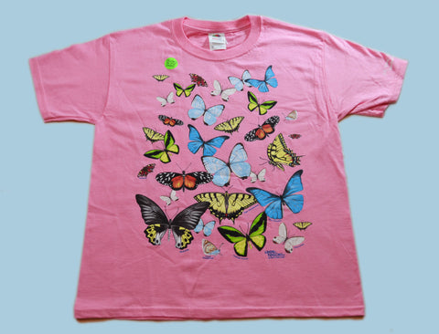 Kids Pink Butterfly T-Shirt - Glows in the Dark