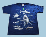 Kids Navy Blue Shark T-Shirt - Glows in the Dark