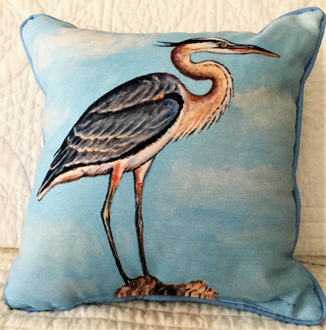 Small Indoor/Outdoor Pillow - Great Blue Heron - Made in the USA