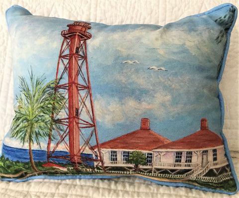 Small Indoor/Outdoor Pillow - Sanibel Lighthouse - Made in the USA
