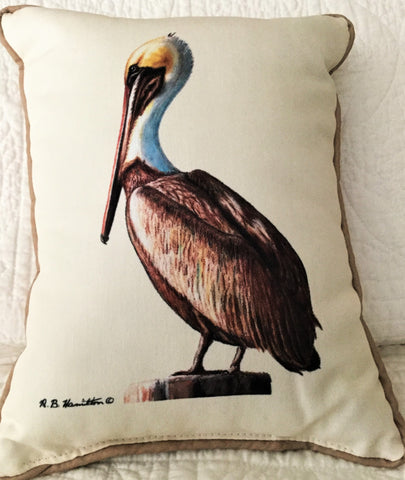 Small Indoor/Outdoor Pillow - Brown Pelican - Made in the USA