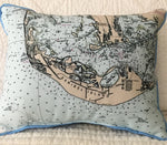 Small Indoor/Outdoor Pillow - Sanibel Island Nautical Map - Made in the USA