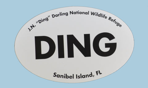 """DING"" Oval Car Magnet"