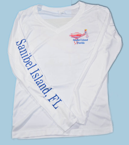 White Spoonbill Ladies V-Neck Sport Shirt
