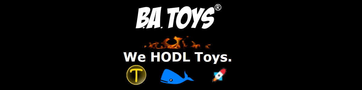 Toyken Crypto Icon, next to a big blue whale, next to a rocket ship with flames burning above the tagline but below BA Toys logo.