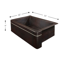 "Load image into Gallery viewer, Kahlo 33"" x 22"" Farmhouse Copper Sink"