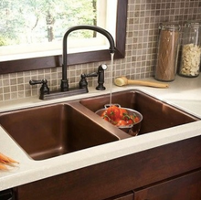 "Load image into Gallery viewer, Villa 31"" x 20"" Double Copper Sink"