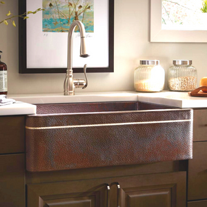 "Kahlo 33"" x 22"" Farmhouse Copper Sink"