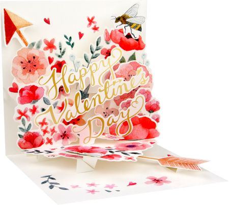 Valentine Floral Hearts Pop-Up Card