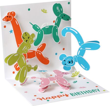 Animal Balloons Pop-Up Card