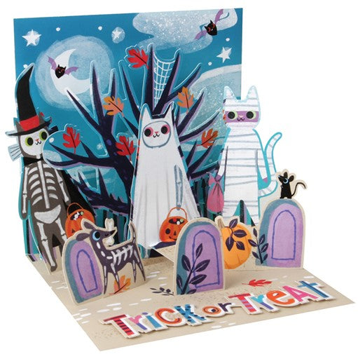 Skeleton Cats Halloween Pop-Up Card