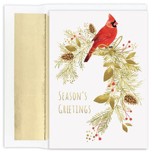 Pine Perched Cardinal - Season's Greetings Card