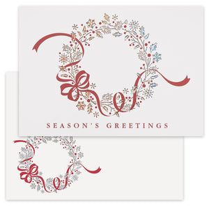 Red Bow Wreath, Laser Cut - Season's Greetings Card