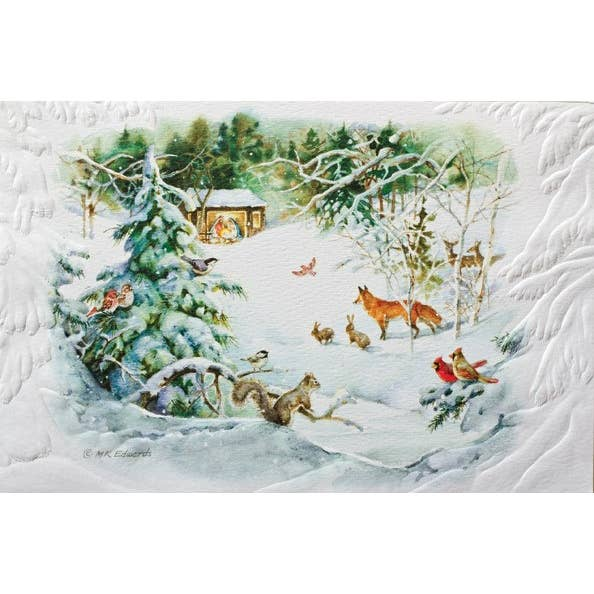 Forest Winter Nativity Christmas Card